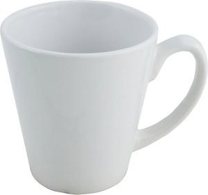 white cone mug